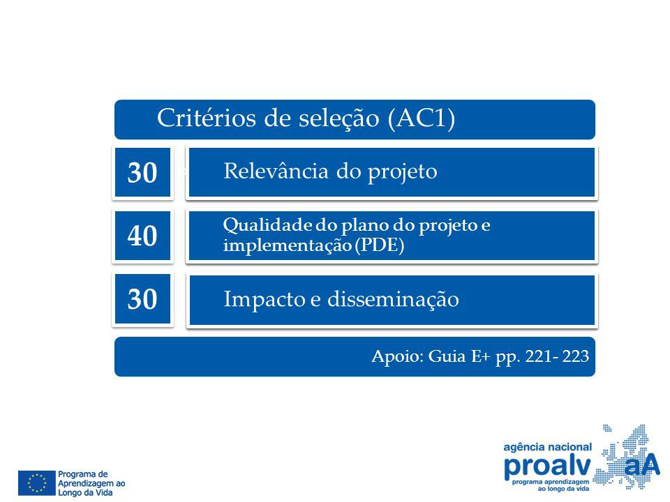 Relevância do projeto Qualidade do plano do projeto e implementação (PDE) Impacto e disseminação Critérios de seleção (AC1) 30 40 30 Apoio: Guia E+ pp