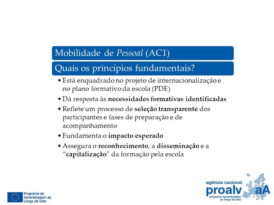 Mobilidade de Pessoal (AC1)Quais os princípios fundamentais? Está enquadrado no projeto de internacionalização e no plano formativo da escola (PDE) Dá