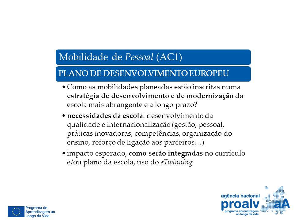 Mobilidade de Pessoal (AC1) PLANO DE DESENVOLVIMENTO EUROPEU Como as mobilidades planeadas estão inscritas numa estratégia de desenvolvimento e de mod