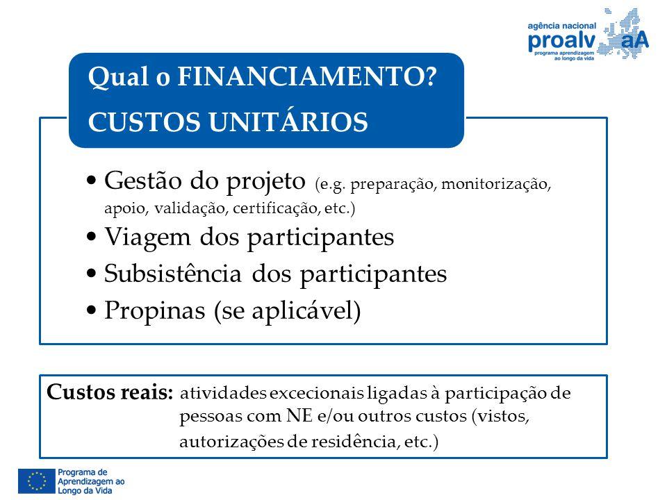 Gestão do projeto (e.g. preparação, monitorização, apoio, validação, certificação, etc.) Viagem dos participantes Subsistência dos participantes Propi