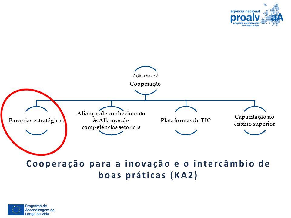 Ação-chave 2 Cooperação Parcerias estratégicas Alianças de conhecimento & Alianças de competências setoriais Plataformas de TIC Capacitação no ensino