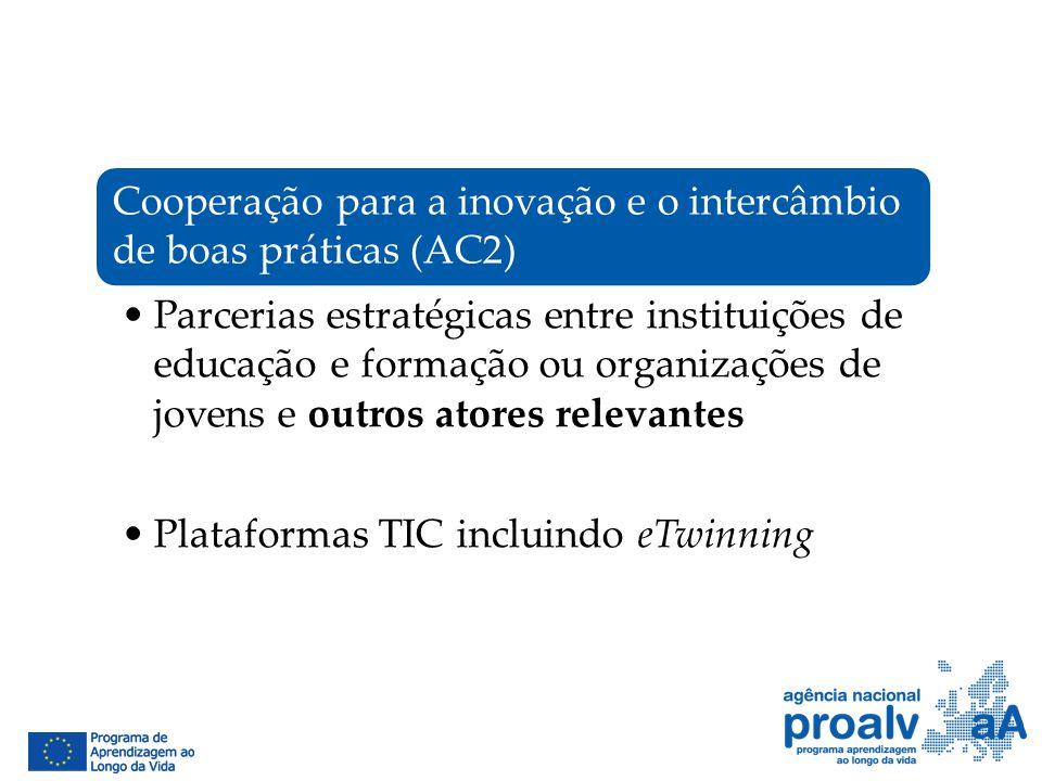 Cooperação para a inovação e o intercâmbio de boas práticas (AC2) Parcerias estratégicas entre instituições de educação e formação ou organizações de