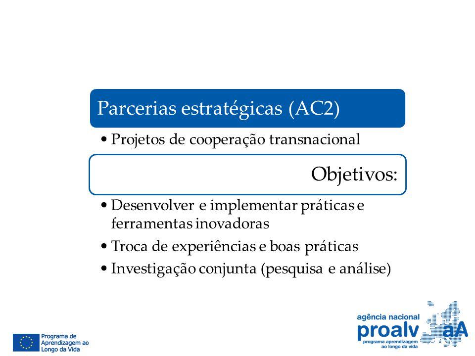 Parcerias estratégicas (AC2) Projetos de cooperação transnacional Objetivos: Desenvolver e implementar práticas e ferramentas inovadoras Troca de expe