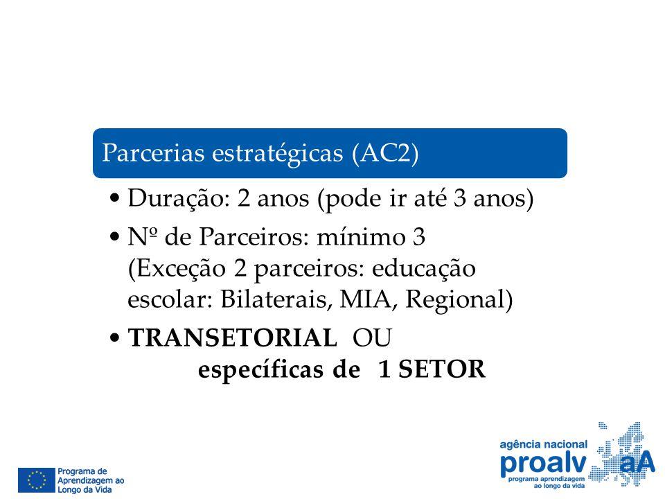 Parcerias estratégicas (AC2) Duração: 2 anos (pode ir até 3 anos) Nº de Parceiros: mínimo 3 (Exceção 2 parceiros: educação escolar: Bilaterais, MIA, R