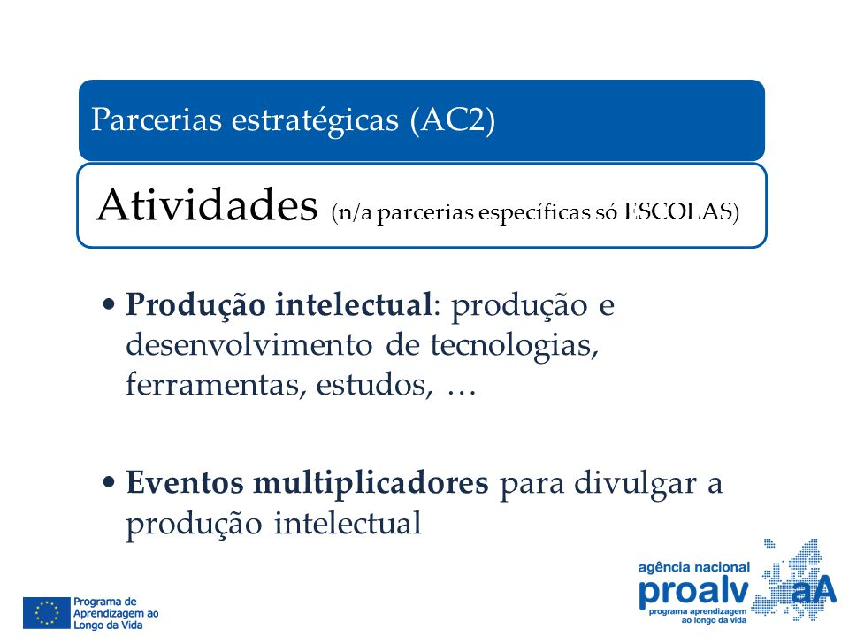 Parcerias estratégicas (AC2) Atividades (n/a parcerias específicas só ESCOLAS) Produção intelectual: produção e desenvolvimento de tecnologias, ferram