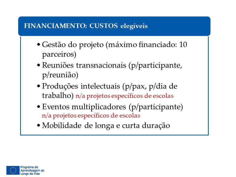 Gestão do projeto (máximo financiado: 10 parceiros) Reuniões transnacionais (p/participante, p/reunião) Produções intelectuais (p/pax, p/dia de trabal