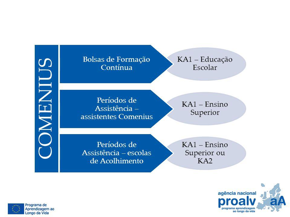KA1 – Educação Escolar KA1 – Ensino Superior KA1 – Ensino Superior ou KA2 Bolsas de Formação Contínua Períodos de Assistência – assistentes Comenius P