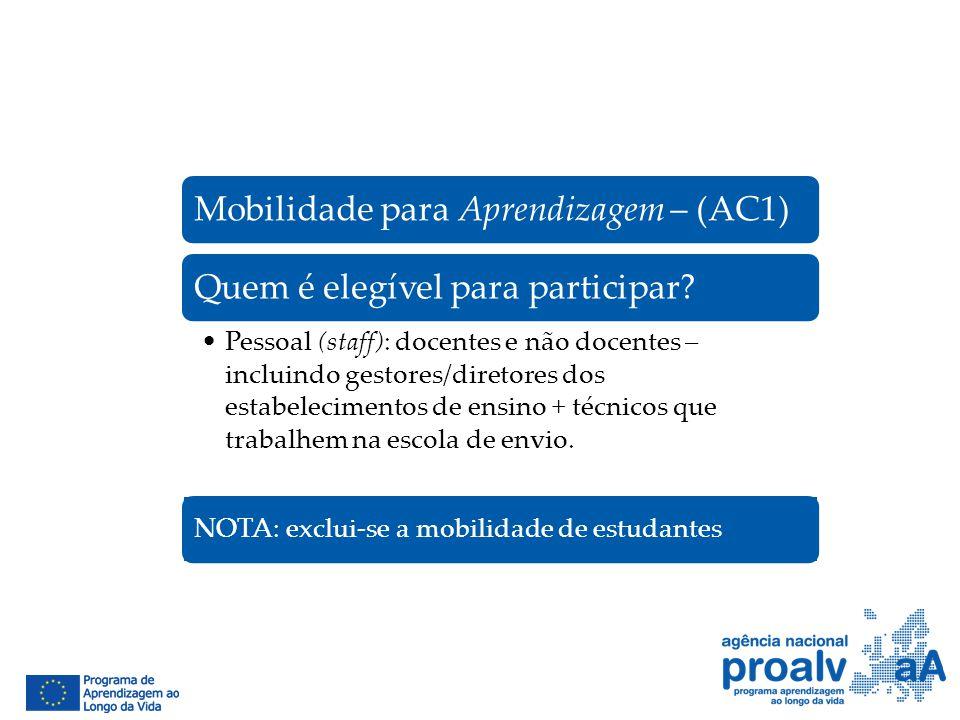 Mobilidade para Aprendizagem – (AC1)Quem é elegível para participar? Pessoal (staff): docentes e não docentes – incluindo gestores/diretores dos estab