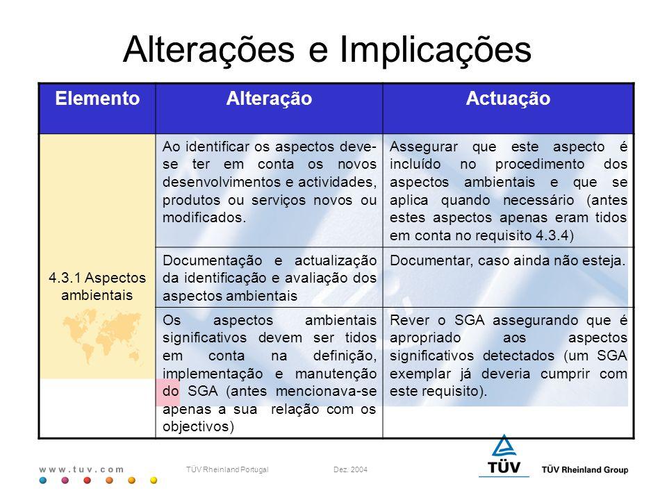 w w w. t u v. c o m TÜV Rheinland Portugal Dez. 2004 ElementoAlteraçãoActuação 4.3.1 Aspectos ambientais Ao identificar os aspectos deve- se ter em co