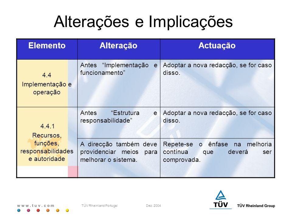 """w w w. t u v. c o m TÜV Rheinland Portugal Dez. 2004 ElementoAlteraçãoActuação 4.4 Implementação e operação Antes """"Implementação e funcionamento"""" Adop"""
