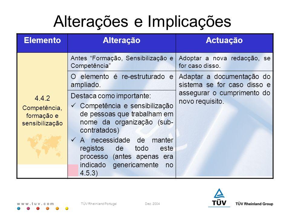 """w w w. t u v. c o m TÜV Rheinland Portugal Dez. 2004 ElementoAlteraçãoActuação 4.4.2 Competência, formação e sensibilização Antes """"Formação, Sensibili"""