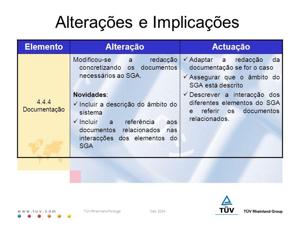 w w w. t u v. c o m TÜV Rheinland Portugal Dez. 2004 ElementoAlteraçãoActuação 4.4.4 Documentação Modificou-se a redacção concretizando os documentos