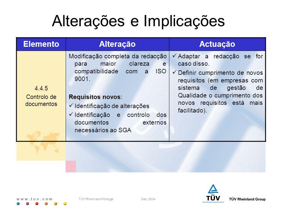 w w w. t u v. c o m TÜV Rheinland Portugal Dez. 2004 ElementoAlteraçãoActuação 4.4.5 Controlo de documentos Modificação completa da redacção para maio
