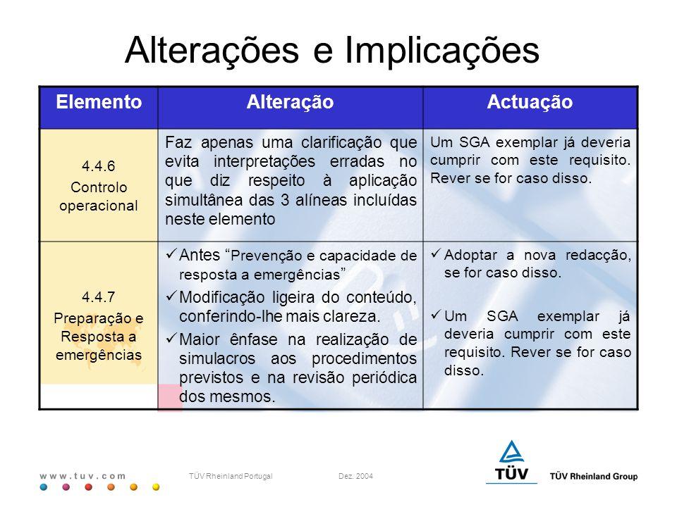 w w w. t u v. c o m TÜV Rheinland Portugal Dez. 2004 ElementoAlteraçãoActuação 4.4.6 Controlo operacional Faz apenas uma clarificação que evita interp