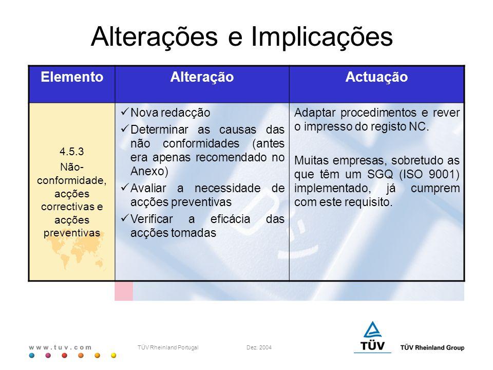 w w w. t u v. c o m TÜV Rheinland Portugal Dez. 2004 ElementoAlteraçãoActuação 4.5.3 Não- conformidade, acções correctivas e acções preventivas Nova r