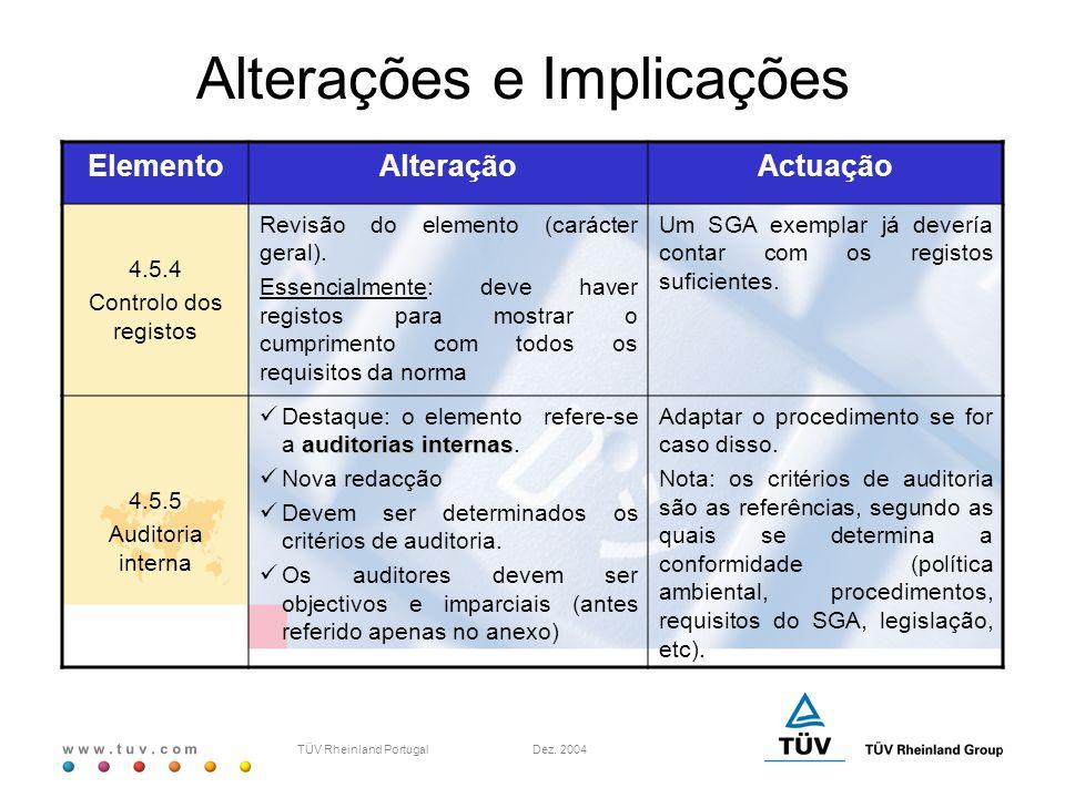 w w w. t u v. c o m TÜV Rheinland Portugal Dez. 2004 ElementoAlteraçãoActuação 4.5.4 Controlo dos registos Revisão do elemento (carácter geral). Essen