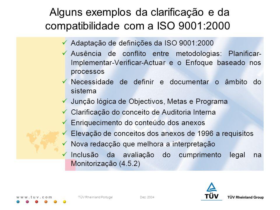w w w. t u v. c o m TÜV Rheinland Portugal Dez. 2004 Alguns exemplos da clarificação e da compatibilidade com a ISO 9001:2000 Adaptação de definições