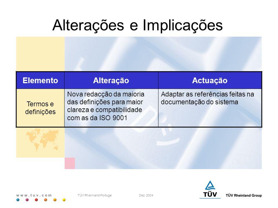 w w w. t u v. c o m TÜV Rheinland Portugal Dez. 2004 ElementoAlteraçãoActuação Termos e definições Nova redacção da maioria das definições para maior