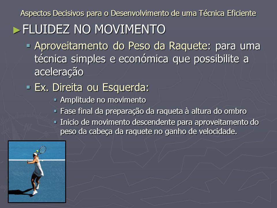 ► RESPIRAÇÃO  Expiração no momento do impacto da bola na raquete.
