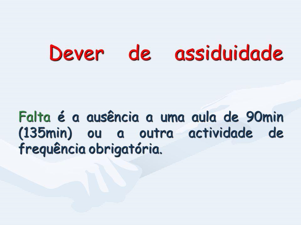 Dever de assiduidade Falta é a ausência a uma aula de 90min (135min) ou a outra actividade de frequência obrigatória.