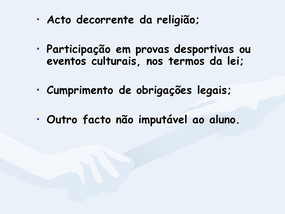 Acto decorrente da religião;Acto decorrente da religião; Participação em provas desportivas ou eventos culturais, nos termos da lei;Participação em pr