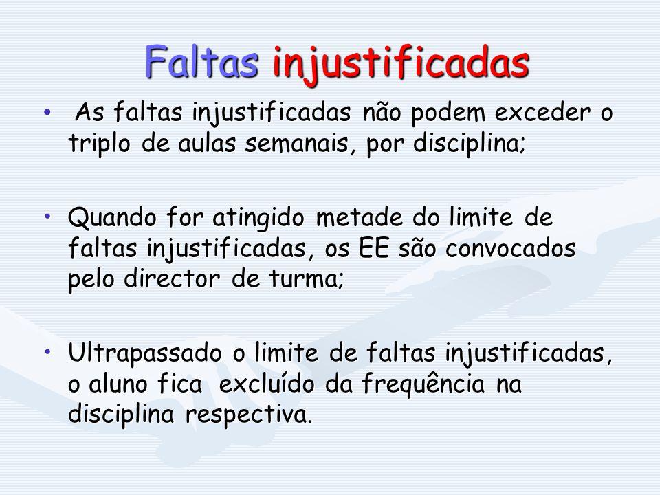 Faltas injustificadas Faltas injustificadas As faltas injustificadas não podem exceder o triplo de aulas semanais, por disciplina; As faltas injustifi