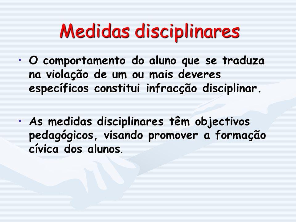 Medidas disciplinares O comportamento do aluno que se traduza na violação de um ou mais deveres específicos constitui infracção disciplinar.O comporta