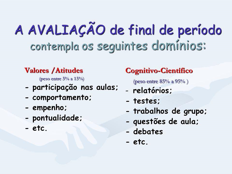 A AVALIAÇÃO de final de período contempla os seguintes domínios: Valores /Atitudes (peso entre 5% a 15%) - participação nas aulas; - participação nas