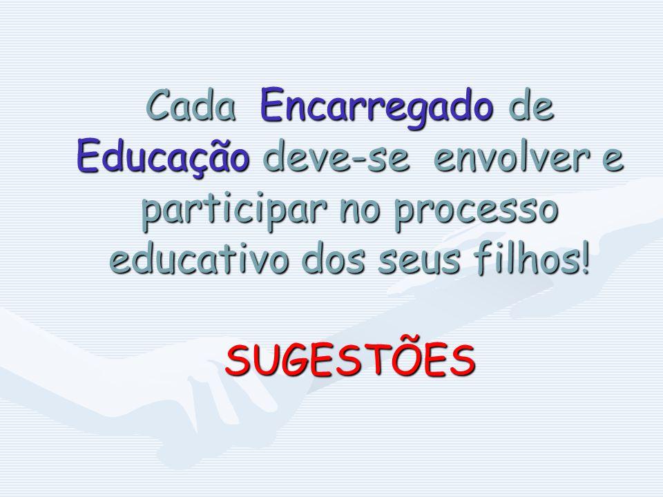Cada Encarregado de Educação deve-se envolver e participar no processo educativo dos seus filhos! SUGESTÕES