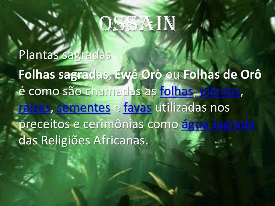 OSSAIN Plantas sagradas Folhas sagradas, Ewé Orò ou Folhas de Orô é como são chamadas as folhas, plantas, raízes, sementes e favas utilizadas nos prec