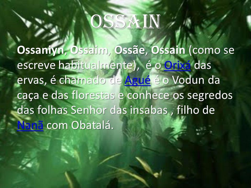 OSSAIN Ossaniyn, Ossaim, Ossãe, Ossain (como se escreve habitualmente), é o Orixá das ervas, é chamado de Agué é o Vodun da caça e das florestas e con