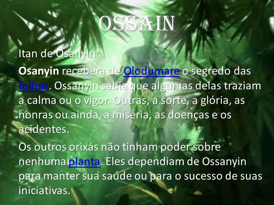 OSSAIN Itan de Osanyin Osanyin recebera de Olodumare o segredo das folhas. Ossanyin sabia que algumas delas traziam a calma ou o vigor. Outras, a sort