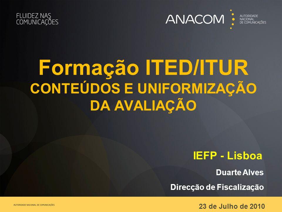 Formação ITED/ITUR CONTEÚDOS E UNIFORMIZAÇÃO DA AVALIAÇÃO IEFP - Lisboa Duarte Alves Direcção de Fiscalização 23 de Julho de 2010