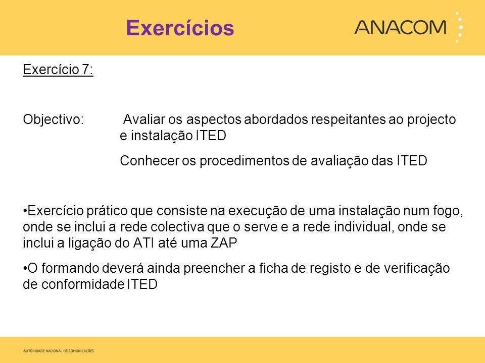 Exercícios Exercício 7: Objectivo: Avaliar os aspectos abordados respeitantes ao projecto e instalação ITED Conhecer os procedimentos de avaliação das