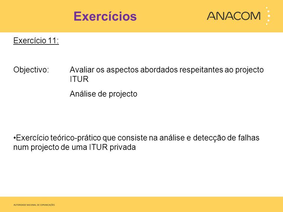 Exercícios Exercício 11: Objectivo: Avaliar os aspectos abordados respeitantes ao projecto ITUR Análise de projecto Exercício teórico-prático que cons