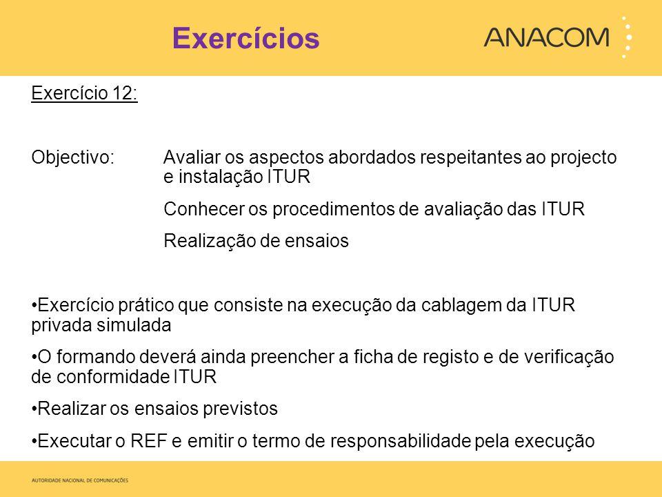 Exercícios Exercício 12: Objectivo: Avaliar os aspectos abordados respeitantes ao projecto e instalação ITUR Conhecer os procedimentos de avaliação da