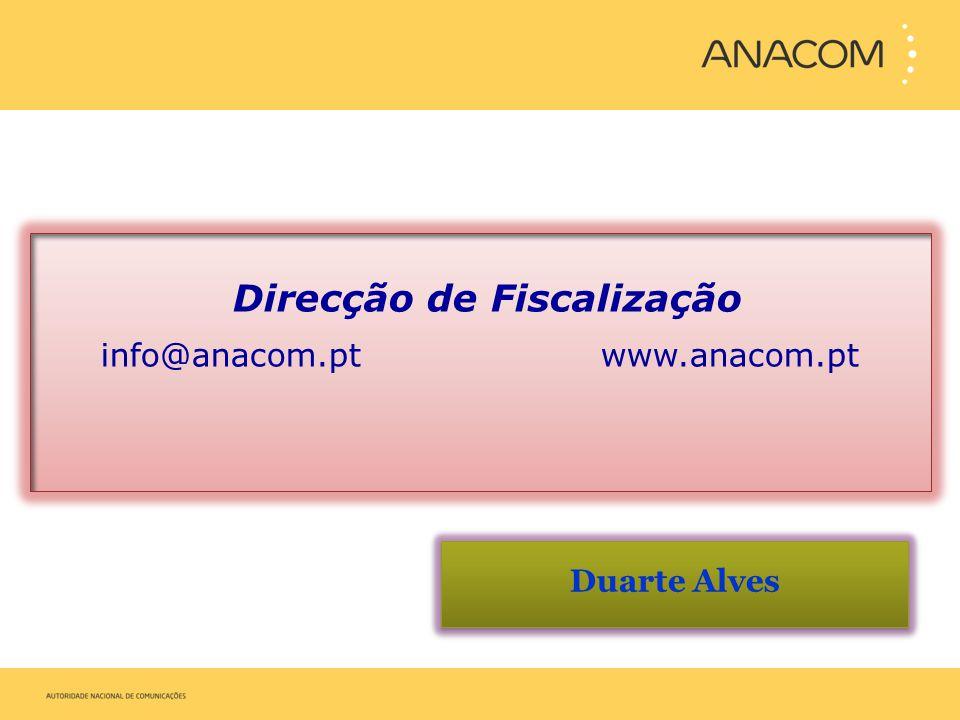 Duarte Alves Direcção de Fiscalização info@anacom.pt www.anacom.pt