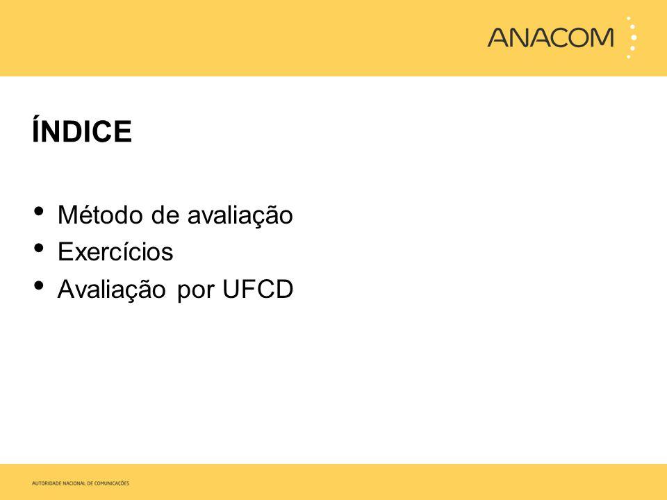 ÍNDICE Método de avaliação Exercícios Avaliação por UFCD