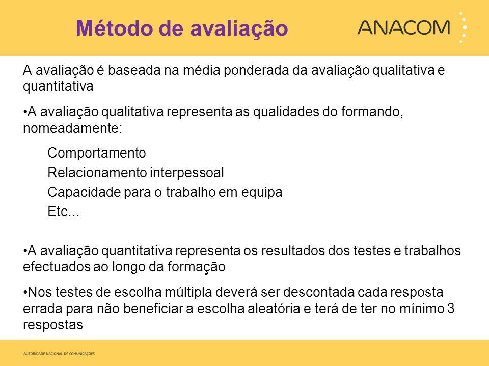 Método de avaliação Avaliação quantitativa – 80% da nota final (mínimo) Avaliação qualitativa – 20% da nota final (máximo) Na avaliação quantitativa o tipo de testes e trabalhos será adaptado ao tipo de UFCD