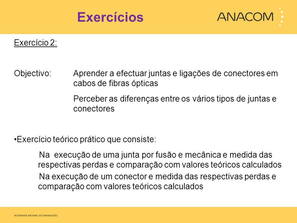 Exercícios Exercício 2: Objectivo: Aprender a efectuar juntas e ligações de conectores em cabos de fibras ópticas Perceber as diferenças entre os vári