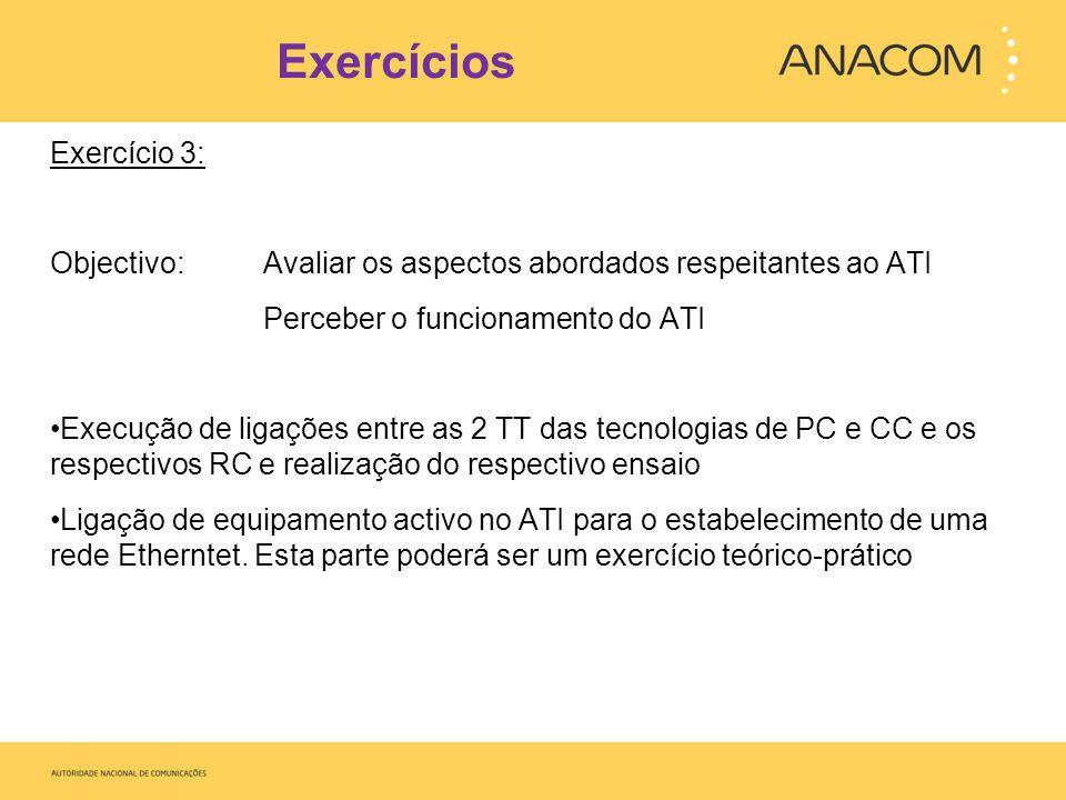 Exercícios Exercício 3: Objectivo: Avaliar os aspectos abordados respeitantes ao ATI Perceber o funcionamento do ATI Execução de ligações entre as 2 T
