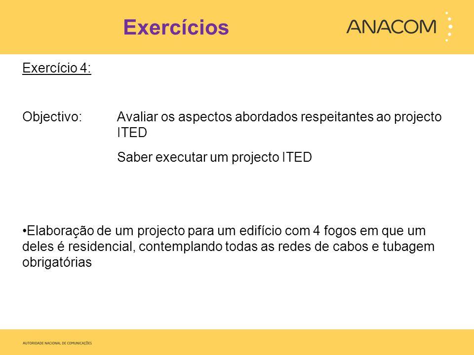 Exercícios Exercício 4: Objectivo: Avaliar os aspectos abordados respeitantes ao projecto ITED Saber executar um projecto ITED Elaboração de um projec