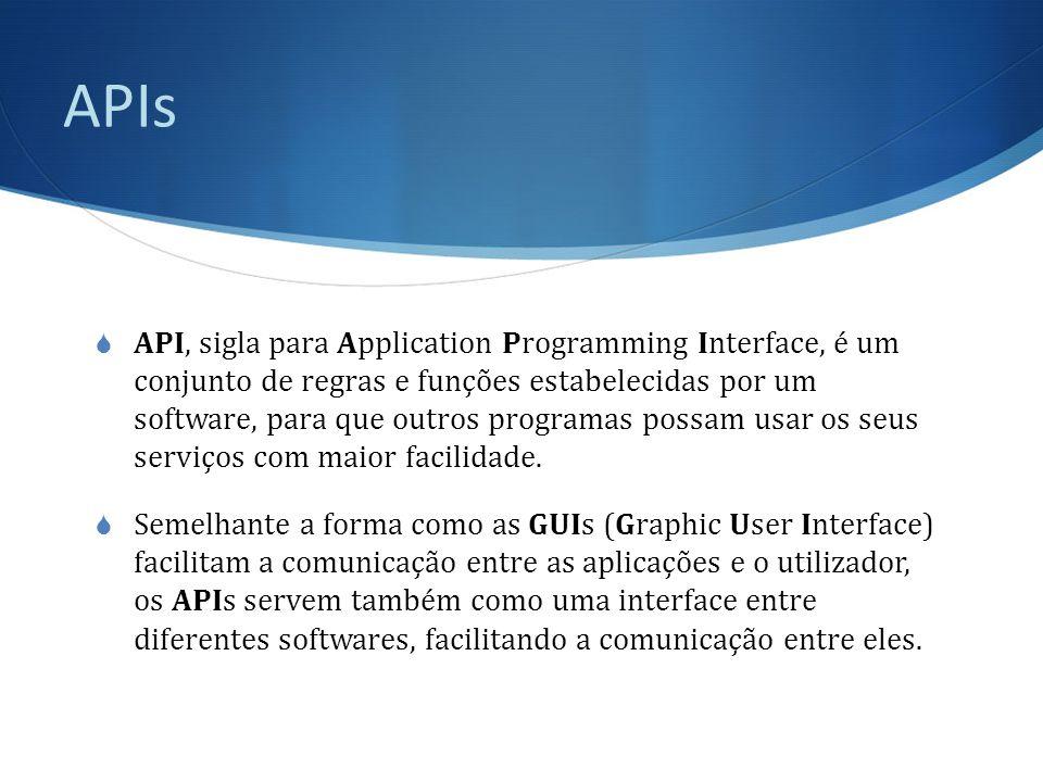 APIs  API, sigla para Application Programming Interface, é um conjunto de regras e funções estabelecidas por um software, para que outros programas possam usar os seus serviços com maior facilidade.