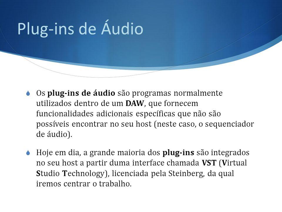 Plug-ins de Áudio  A tecnologia VST utiliza processamento digital de sinais para emular em software funcionalidades de diferentes tipos de hardware tradicional de estudio.