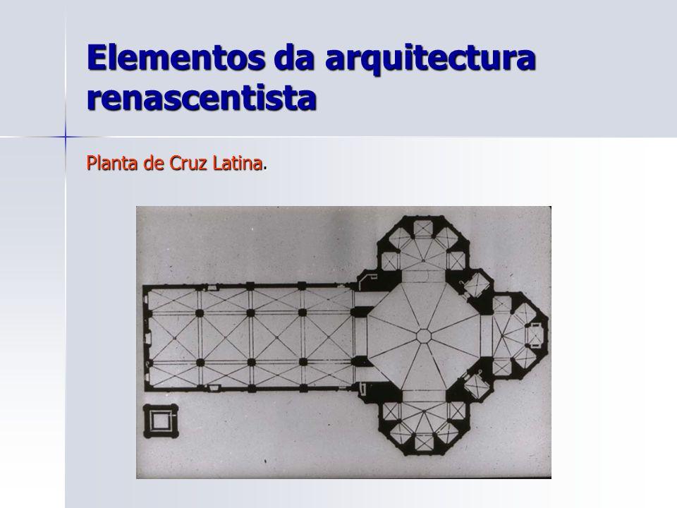 Elementos da arquitectura renascentista Planta de Cruz Latina.