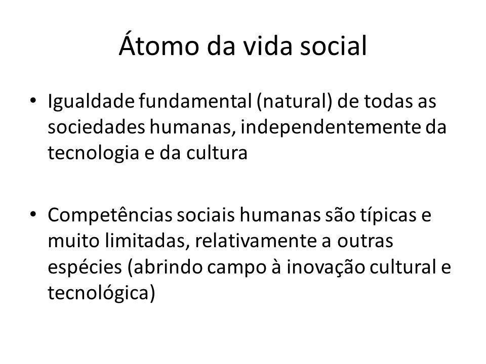 Átomo da vida social Igualdade fundamental (natural) de todas as sociedades humanas, independentemente da tecnologia e da cultura Competências sociais humanas são típicas e muito limitadas, relativamente a outras espécies (abrindo campo à inovação cultural e tecnológica)