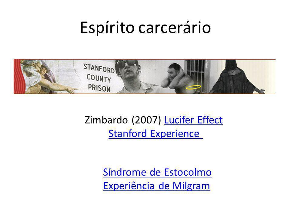 Espírito carcerário Zimbardo (2007) Lucifer EffectLucifer Effect Stanford Experience Síndrome de Estocolmo Experiência de Milgram