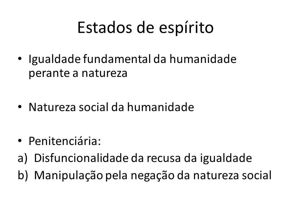 Estados de espírito Igualdade fundamental da humanidade perante a natureza Natureza social da humanidade Penitenciária: a)Disfuncionalidade da recusa da igualdade b)Manipulação pela negação da natureza social