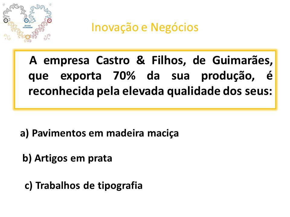 Inovação e Negócios A empresa Castro & Filhos, de Guimarães, que exporta 70% da sua produção, é reconhecida pela elevada qualidade dos seus: a) Pavimentos em madeira maciça b) Artigos em prata c) Trabalhos de tipografia