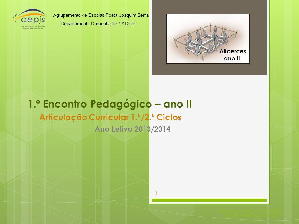 1.º Encontro Pedagógico – ano II Articulação Curricular 1.º/2.º Ciclos Alicerces - ano II - 2013/2014 20 de dezembro de 2013 1 Ano Letivo 2013/2014 Ag
